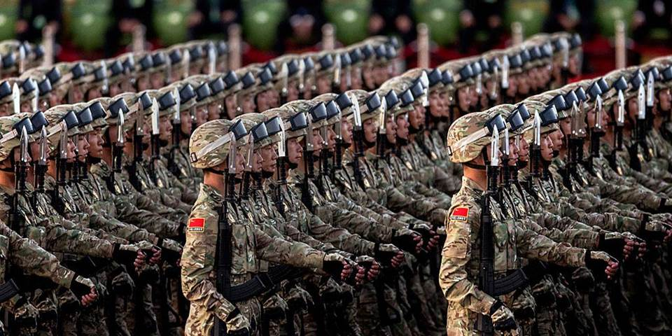 Chinese military marching