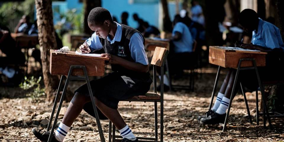 Students of St Dominic Bukna Secondary school take their English test