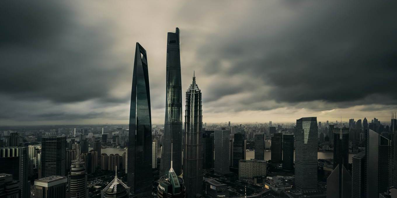 shanghai skyline dark sky
