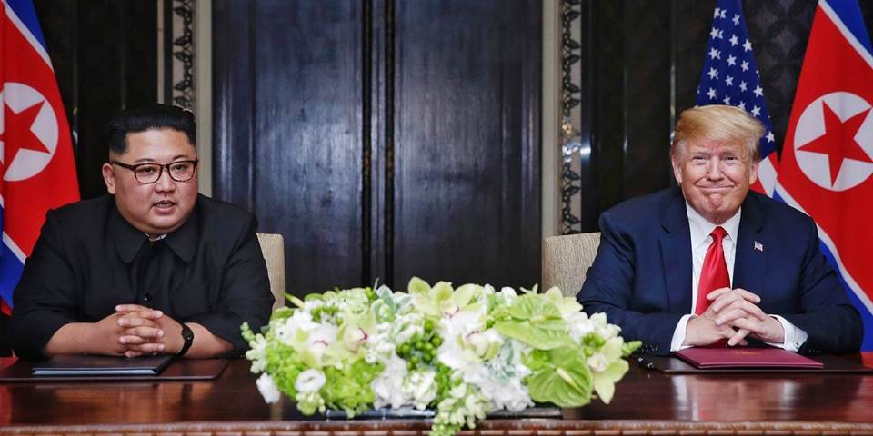 North Korean leader Kim Jong-un with U.S. President Donald Trump