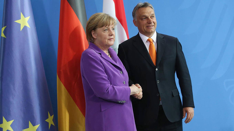 Hungarian Prime Minister Viktor Orban and German Chancellor Angela Merkel