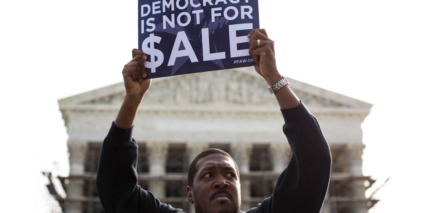 democracy is not for sale sign