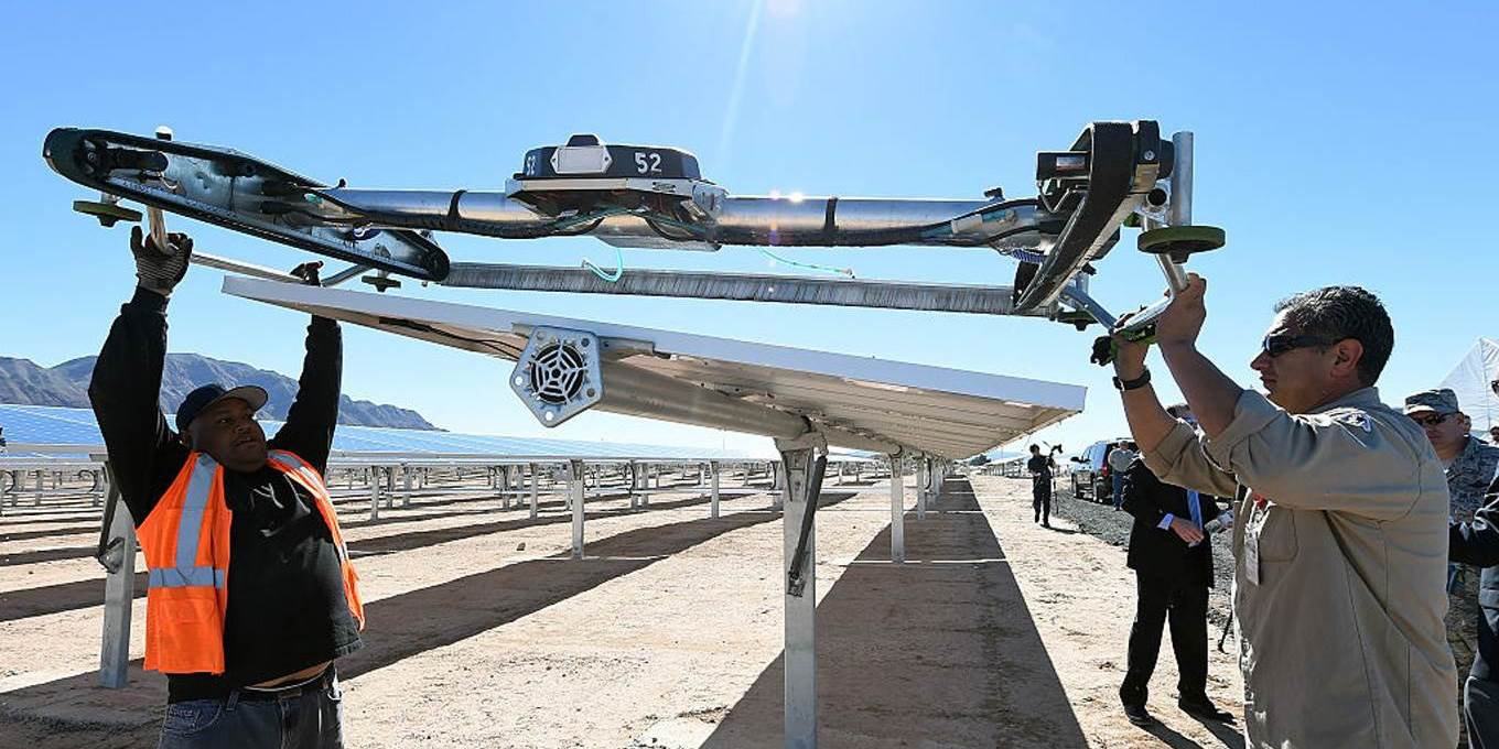 people solar panel robot