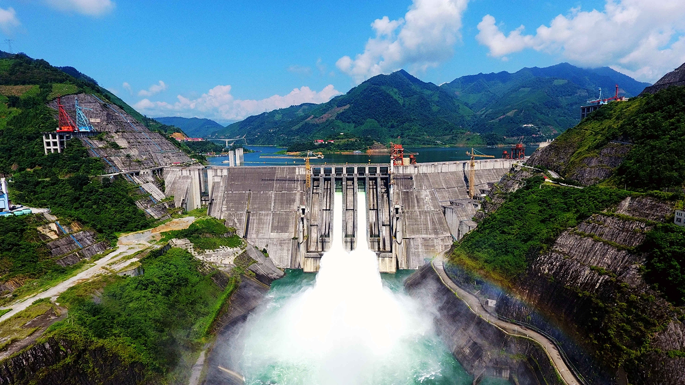 Floodwater gushing out of Longtan Dam in China