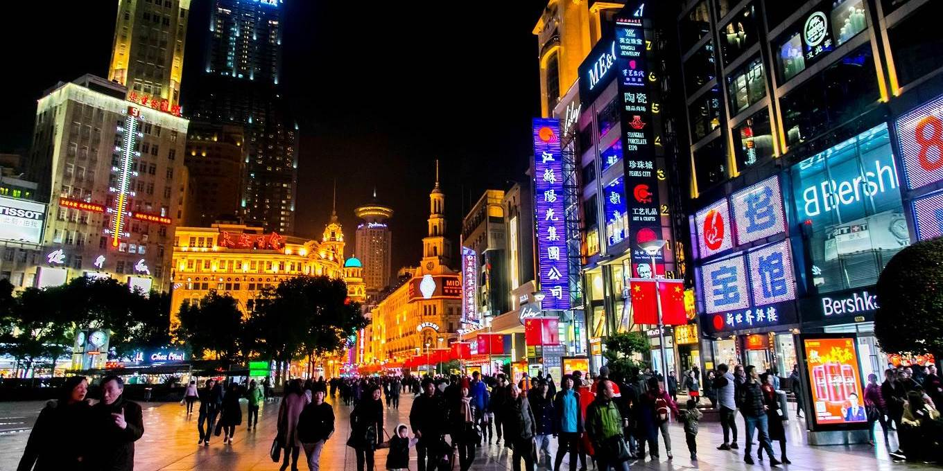 Bright signs in the main shopping street of the city centre in Shanghai