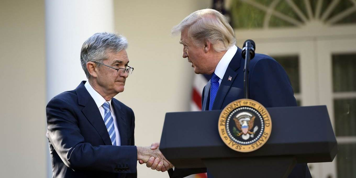 US President Donald Trump shakes hands as he announces his nominee for Chairman of the Federal Reserve