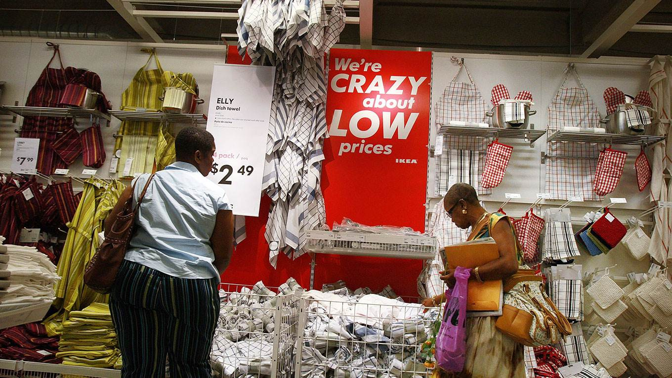 People shop at an Ikea home furnishing store