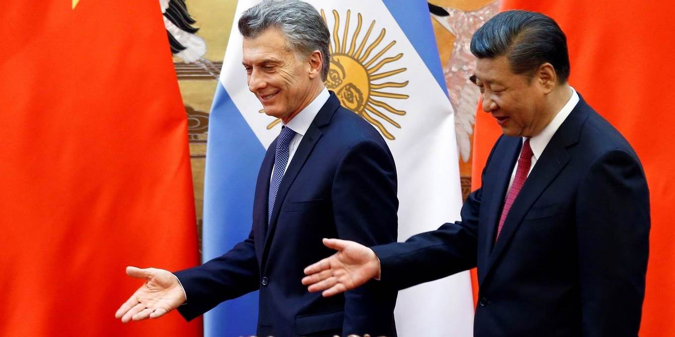 Chinese President Xi Jinping and Argentina's President Mauricio Macri