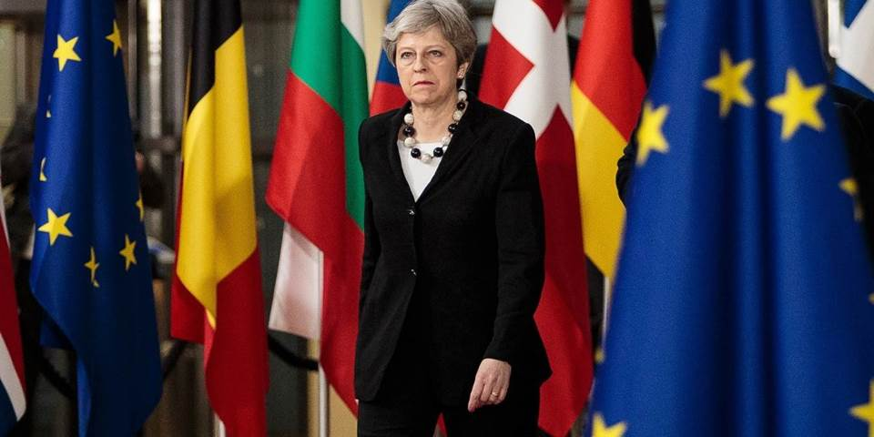 British Prime Minster Theresa May arrives at the Council of the European Union