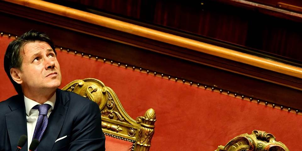 Italys Prime Minister Giuseppe Conte looks on during a confidence debate at the Senate