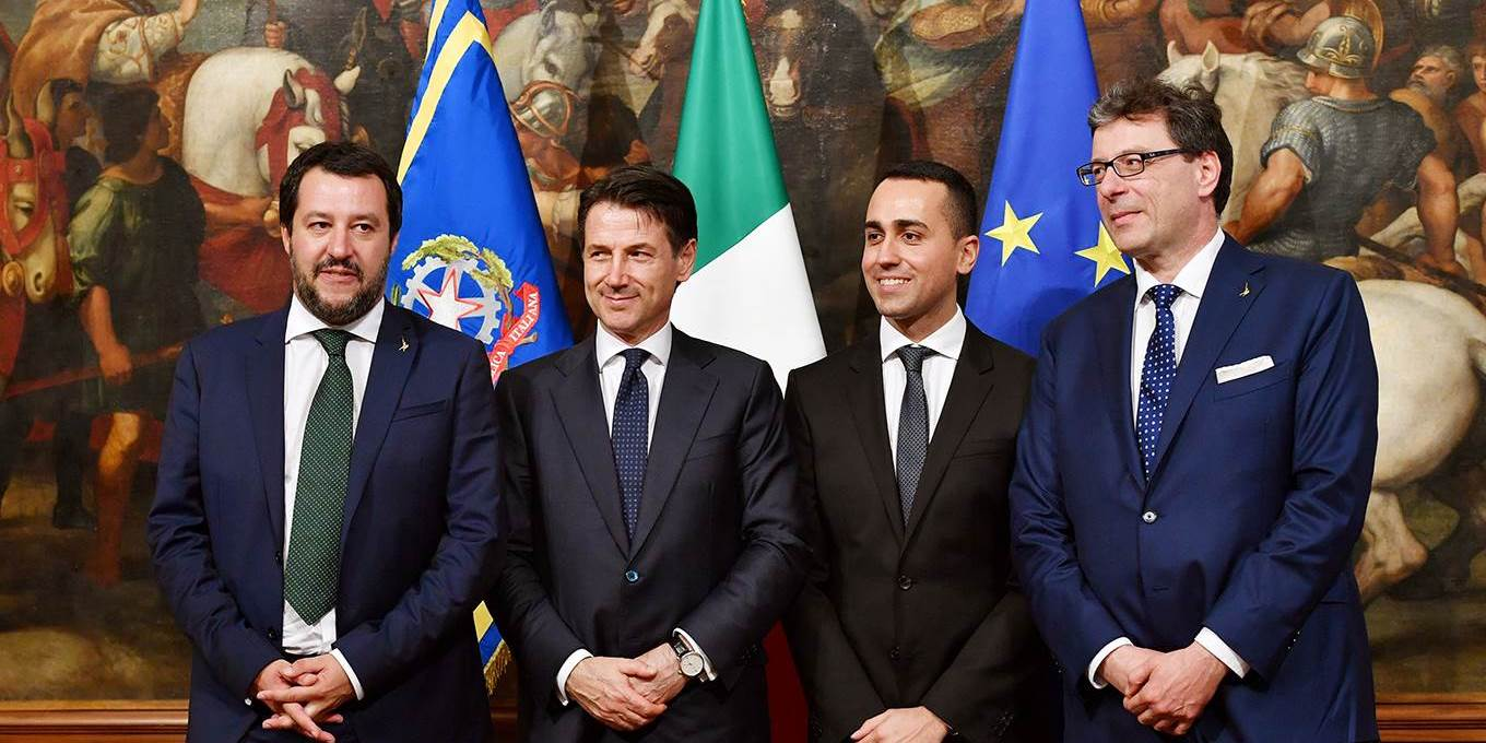 Italys Newly appointed Prime Minister Giuseppe Conte, Italys Interior Minister and deputy Prime Minister Matteo Salvini, Italys Labor and Industry Minister and deputy PM Luigi Di Maio and Italys Undersecretary for Prime Minister Giancarlo Giorgetti