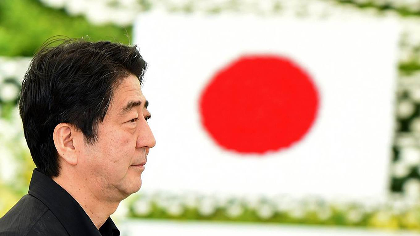 shinzo abe japanese flag