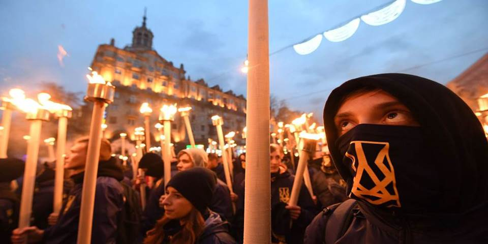 far right rally torches