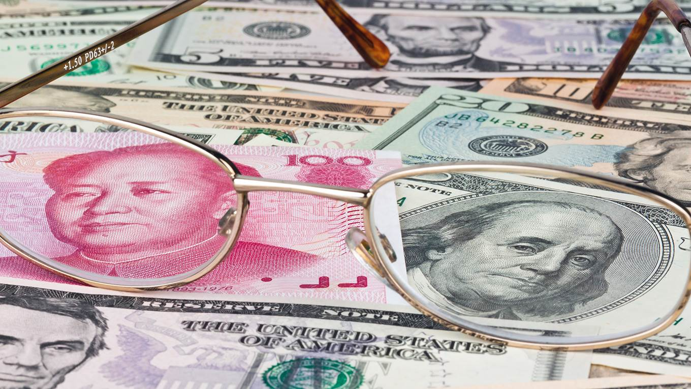 Chinese Yuan Renminbi And Dollar Banknotes